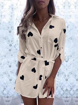 Heart Shaped Lapel Lace-Up Mid-Length Long Sleeve Women's Blouse