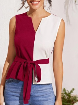 V-Neck Patchwork Regular Sleeveless Standard Women's Blouse