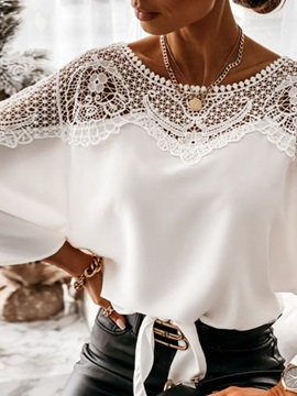 Batwing Sleeve Lace Plain Three-Quarter Sleeve Mid-Length Women's Blouse