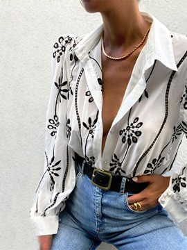 Embroidery Floral Lapel Long Sleeve Standard Women's Blouse