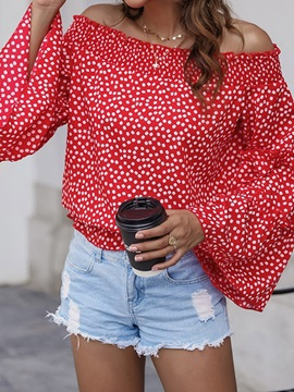 Off Shoulder Patchwork Flare Sleeve Long Sleeve Standard Women's Blouse