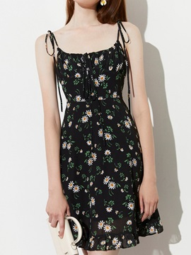 Sleeveless Backless Above Knee Floral Spaghetti Strap Women's Floral Dress Dress
