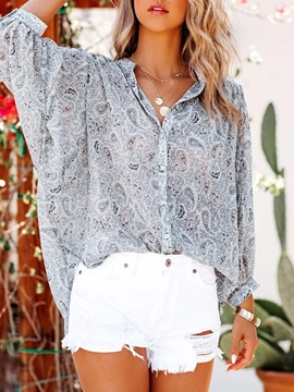Print Color Block Stand Collar Mid-Length Nine Points Sleeve Women's Blouse