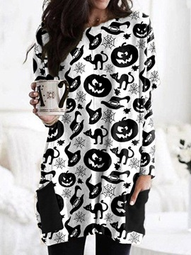 Round Neck Mid-Length Color Block Fall Fashion Women's T-Shirt