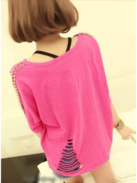 Fabulous Europe Style Half Sleeves Rivet Street T-shirt