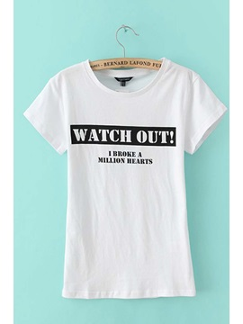 Vogue Preppy Style Letters Print Short Sleeves Cotton T-shirt