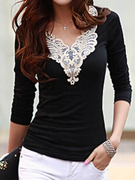 Multi Color Lace V neck T-Shirt