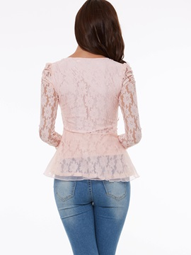 Solid Color Lace Patchwork Beads Base Shirt