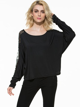 European Lace Joint Mesh Back T-Shirt