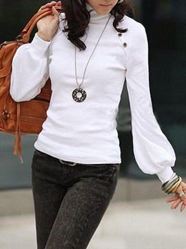 Pure Color Stand Collar Puff Sleeve T-Shirt