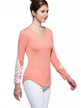 Lace Hollow Out Sleeve T-Shirt