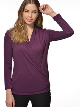 Special V-Neck Pleated Slim Work T-Shirt