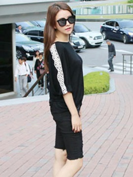 Chic Lace Decoration Half Sleeves T-Shirt