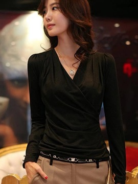 Stylish V-Neck Slim Work T-Shirt