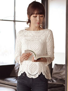 Stylish Nine Points Sleeves Lace T-Shirt