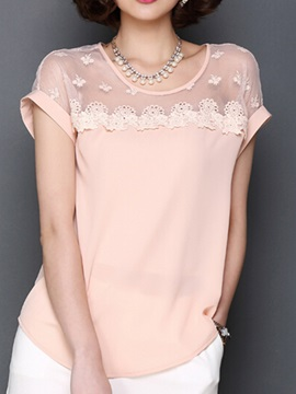 Chic Lace Decoration Short Sleeves T-Shirt