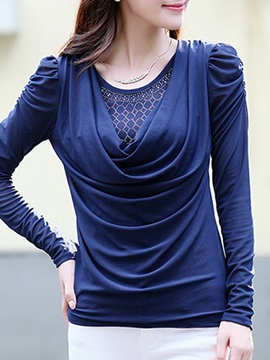 Chic Sequins Decoration Heap Collar T-Shirt