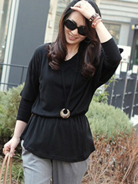 Pure Color Batwing Sleeve T-Shirt