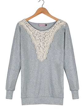 Chic Lace Decoration Collar Short T-Shirt