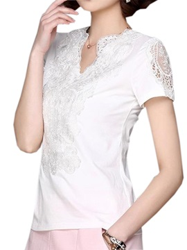 Chic Lace Decoration Collar Slim T-Shirt