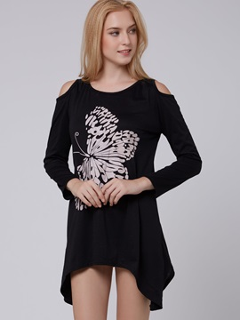 Dew Shoulder Butterfly Decoration Long Sleeve T-Shirt