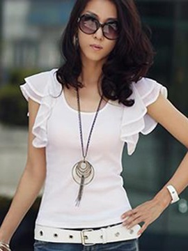 Chic Petal Sleeve Round Neck T-Shirt