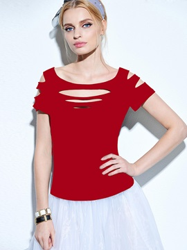 Slim-Fit Cut-Out Short-Sleeve Women
