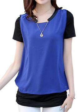 Chic Collar Double-Layer Slim T-Shirt