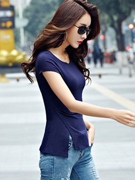 Special Hem Slim Short Sleeves T-Shirt
