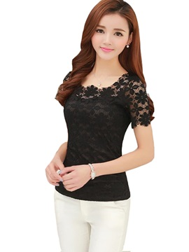 Floral Lace See-Through Slim T-Shirt
