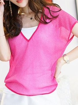 Special Fabric V-Neck Short T-Shirt