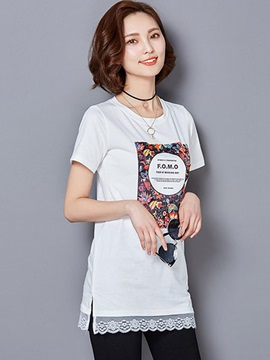 Special Letter Pattern Short Sleeves T-Shirt