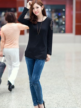 Casual Lace Decoration Sleeves T-Shirt