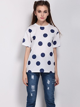 Casual Polka Dots Slim T-Shirt