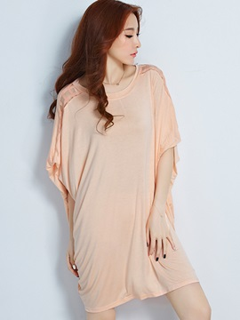 Stylish Hollow Decoration Batwing Sleeves T-Shirt