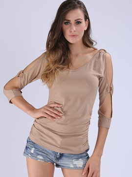 Stylish Hollow Sleeves Slim T-Shirt