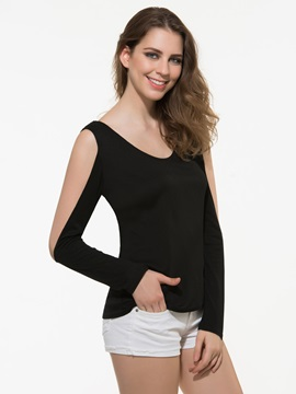 Stylish Hollow Sleeves Backless T-Shirt