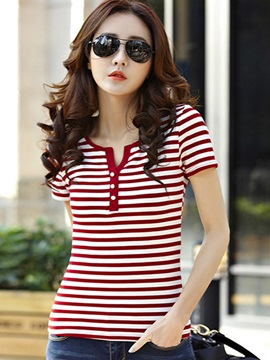 Cool Button Decoration Slim Stripe T-Shirt