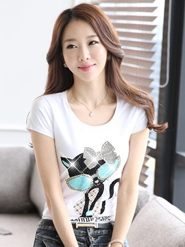 Casual Sequins Decoration Pattern Slim T-Shirt