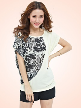 Stylish Asymmetrical Floral Printed Sleeves T-Shirt