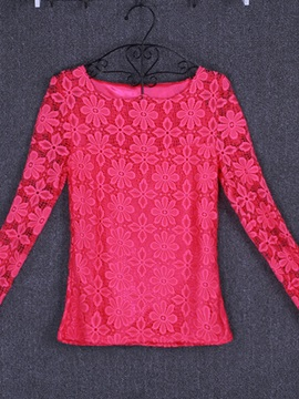 Chic See-through Lace Collar and Sleeves T-Shirt