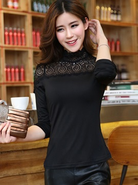 Chic Lace Collar Slim T-Shirt