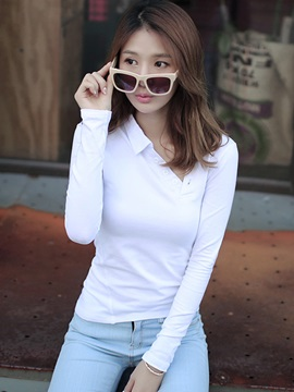 Stylish Oblique Collar Slim T-Shirt
