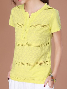 Special Fabric Button Decoration T-Shirt