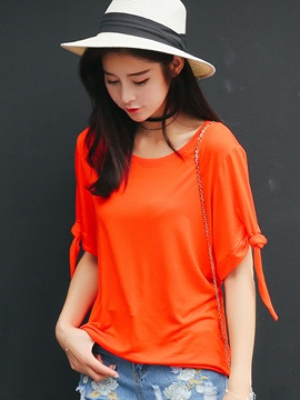 Casual Short Sleeve Plain T-Shirt