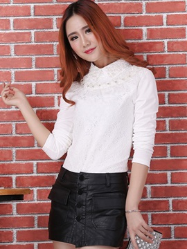 Chic Bead Decoration Lace T-Shirt
