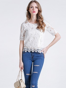 Special Hem Short Lace T-Shirt