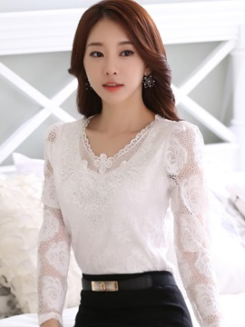 Chic Sequins Decoration V-Neck Lace T-Shirt