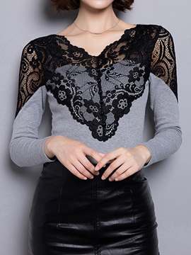 Chic Button and Lace Decoration Collar T-Shirt