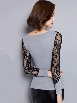 Stylish Lace Collar and Sleeves T-Shirt